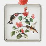 Sweet Vintage Floral Hummingbirds Pair Ornament