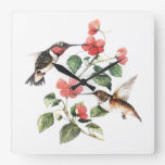 Sweet Vintage Floral Hummingbirds Pair Square Wall Clock