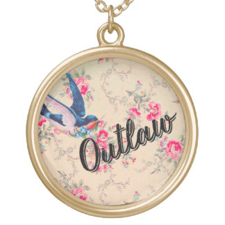 """Sweet vintage floral necklace funny """"outlaw"""""""