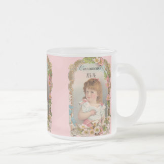Sweet Vintage Girl Frosted Glass Coffee Mug