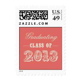 Sweet Vintage Graduation Postage Stamp - Coral