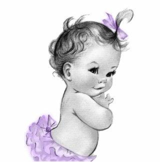 Sweet Vintage Lavener Purple Baby Girl Shower Statuette