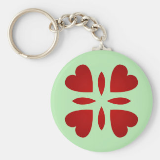 Sweet vintage look red hearts keychain