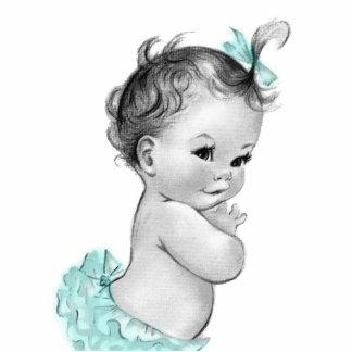 Sweet Vintage Mint Green Baby Girl Shower Statuette