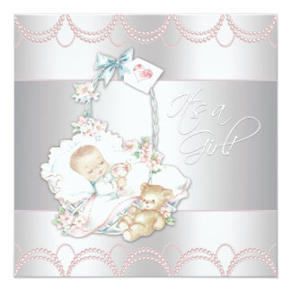 "Sweet Vintage Pink Baby Girl Shower 5.25"" Square Invitation Card"