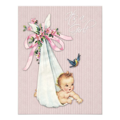Sweet Vintage Pink Baby Girl Shower Announcements