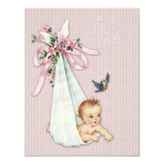 "Sweet Vintage Pink Baby Girl Shower 4.25"" X 5.5"" Invitation Card"