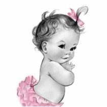 Sweet Vintage Pink Baby Girl Shower Statuette