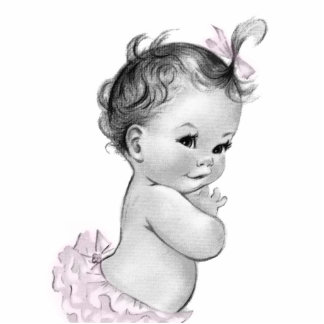 Sweet Vintage Pink Baby Girl Shower Statuette