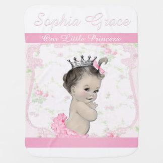 Sweet Vintage Pink Princess Baby Receiving Blanket