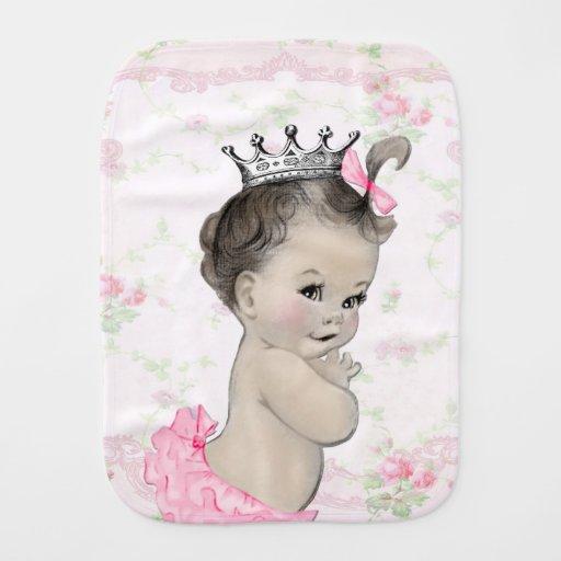 Sweet Vintage Pink Princess Baby Burp Cloth