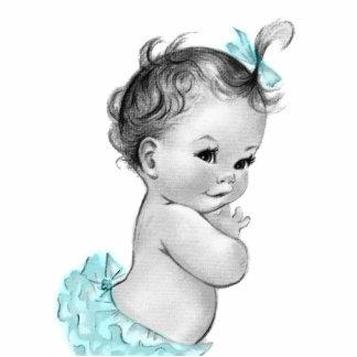 Sweet Vintage Teal Blue Baby Girl Shower Statuette