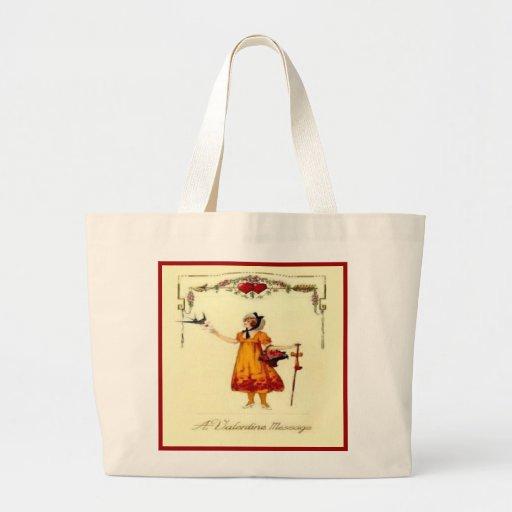 Sweet Vintage Valentine Messages Canvas Bag