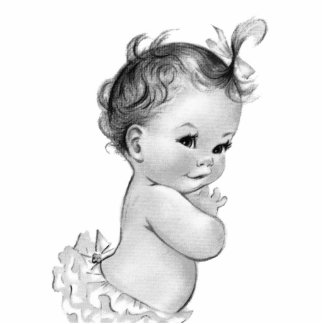 Sweet Vintage White Baby Girl Shower Cutout