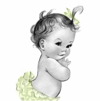Sweet Vintage Yellow Baby Girl Shower Cutout