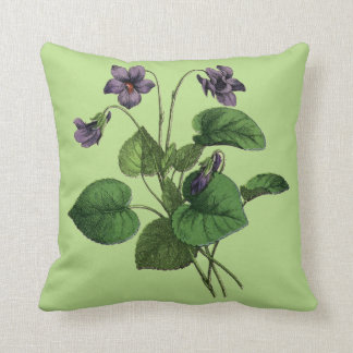 Sweet Violet Flowers on Green or White Throw Pillow