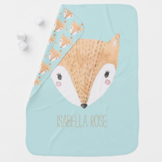 Sweet Watercolor Baby Fox Swaddle Blanket