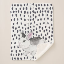 Sweet Watercolor Bunny and Black and White Pattern Sherpa Blanket