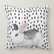 Sweet Watercolor Bunny and Black and White Pattern Throw Pillow