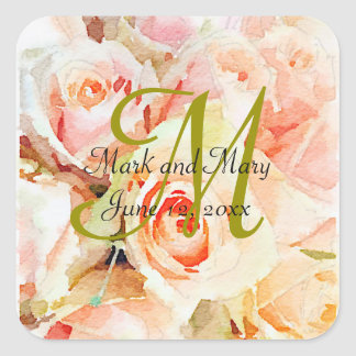 Sweet Watercolor Design Peach Roses Wedding Square Sticker