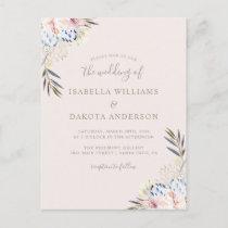 Sweet Watercolor Floral Damask Wedding Invitation