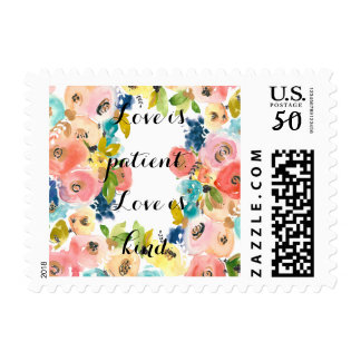 Sweet Watercolor Floral Love is Patient Postage