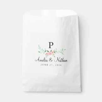 Sweet Watercolor Floral Pink Favor Bags