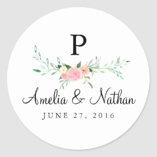 Sweet Watercolor Floral Pink Wedding Sticker
