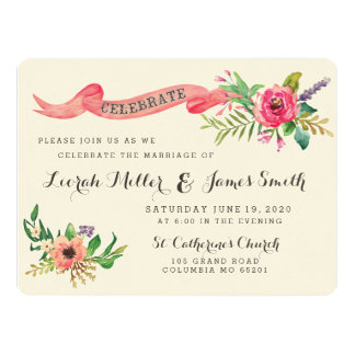 Sweet watercolor flowers with banner personalized invitation