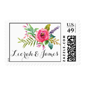 Sweet watercolor flowers with banner personalized postage