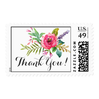 Sweet watercolor flowers with banner personalized postage stamp
