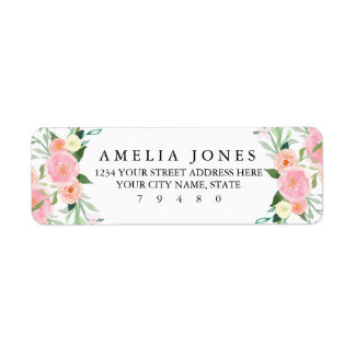 Sweet Watercolor Pink Peach Return Address Label