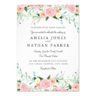 Sweet Watercolor Pink Peach Wedding Invitation