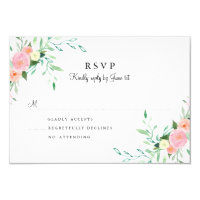 Sweet Watercolor Pink Peach Wedding RSVP Card