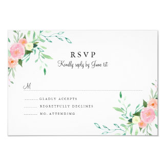Sweet Watercolor Pink Peach Wedding RSVP Card