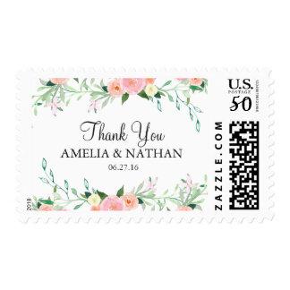 Sweet Watercolor Pink Peach Wedding Stamp