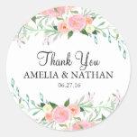 Sweet Watercolor Pink Peach Wedding Sticker