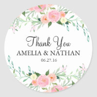 Sweet Watercolor Pink Peach Wedding Sticker