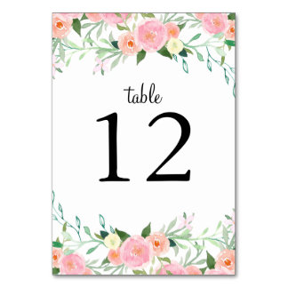 Sweet Watercolor Pink Peach Wedding Table Cards