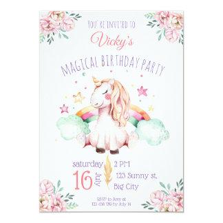Sweet Watercolor Rainbow Flowers Unicorn Birthday Card