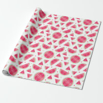 Sweet Watercolor Watermelon Pattern Wrapping Paper