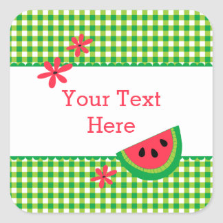 Sweet Watermelon Plaid Square Sticker