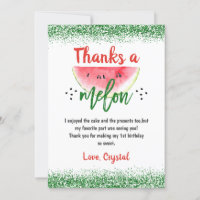 Sweet Watermelon Thanks a Melon Birthday Thank You Card