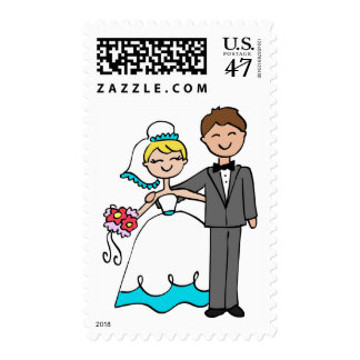 Sweet Wedding Couple Bride and Groom Postage Stamp