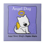 """Sweet Westie Dog Angel Memorial Ceramic Tile<br><div class=""""desc"""">Sweet Westie Dog angel with halo and angel wings on a soft blue background,  with &quot;Angel Dog&quot; text and a place below design to add your dog&#39;s name to make a wonderful memorial to a beloved pet. Perfect for West Highland White Terrier lovers.</div>"""