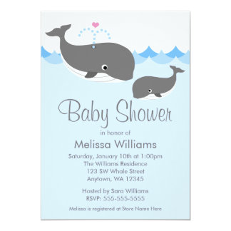 Sweet Whale Baby Shower Invitations