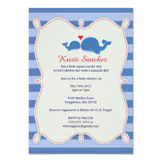 Sweet Whale Themed Baby Shower Invitation