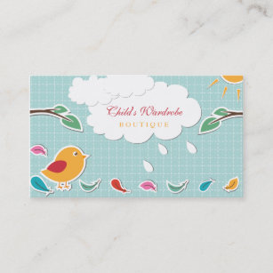 Kids store business cards zazzle sweet whimsical bird kids boutique business cards colourmoves