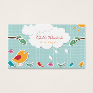 Sweet whimsical bird kids boutique business cards