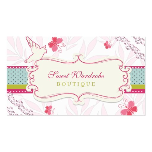 Sweet whimsical custom boutique business cards